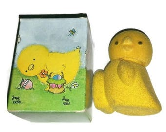 Vintage Avon FLUFFY CHICK DECANTER Hello Sunshine Cologne Fragrance Yellow Flocked Chickadee Fuzzy Baby Bird Perfume Bottle Figurine Decor
