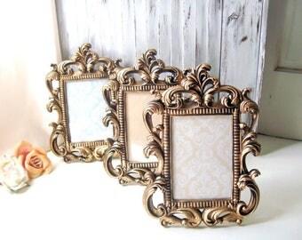 Gold Vintage Style Ornate 5 x 7 Frame, Table Number Frames, Shabby Chic Antique Gold Frame, Wedding Frame, Picture Frame, Nursery Frame