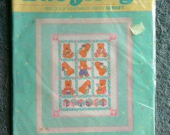 Vintage Baby Hugs Sunset Dimensions  Counted Cross Stitch Kit I Love Baby Bears Wall Decor Wall Decoration Deserdog Destash B15