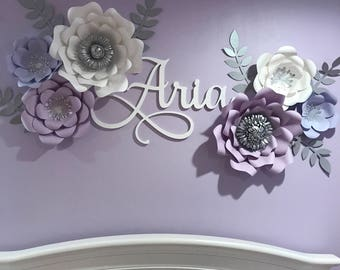 Wooden Name - Baby Nursery Decor - Dorm Room Wall Hanging - Custom Name Wall Decor - Painted Wooden Name - Aria Name