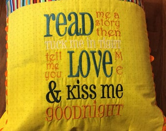 Book Pillow, Reading Pillow, Storybook Pillow, Gift for Kids, Embroidered Pillow, Gift for Book Lovers, ABC Pillow, Hyperlexia Pillow