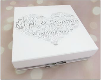 Personalised wedding memory keepsake box with diamante heart..any colour & wording, memory box, wedding keepsake box, wedding gift