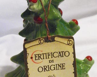 Capodimonte Christmas Tree Shaped Figurine Bell