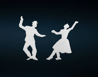 Lindy Hop Dancers Earrings, Swing Jazz Earrings, Music Earrings, Stud Silver, Dancing Couple Earrings.