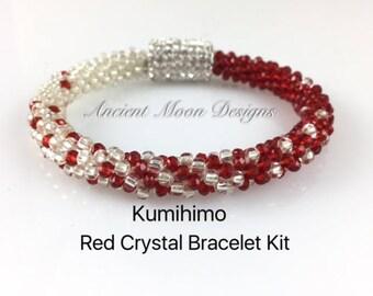 Kit, Kumihimo Red Crystal Bracelet