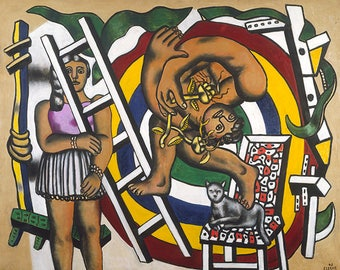 FERNAND LEGER - 'The Acrobat and his Partner' - original archival quality print -very  large (Curwen Press, London. Picasso era)