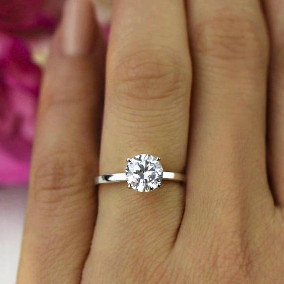 1 5 ct classic engagement ring man made diamond simulant. Black Bedroom Furniture Sets. Home Design Ideas