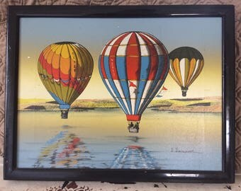 H. Hargrove Hot Air Balloons Serigraph On Canvas, signed and framed /Hot Air Balloons Around The World