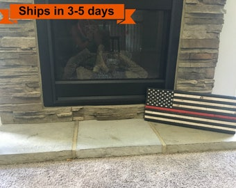 """9""""x 22"""" Small Thin Red Line Rustic Flag"""