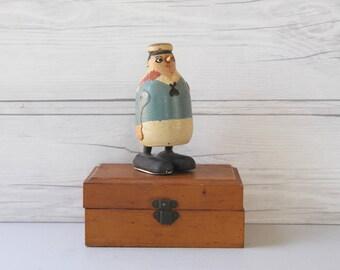 Vintage Wood Ramp Walker Navy Soldier with Hat, Vintage Ramp Walking Navy Soldier Figure Toy