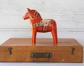 Vintage Swedish Orange Dala Horse Souvenir, Swedish Folk Art Horse, Vintage Swedish Souvenir, Dalecarlian Horse