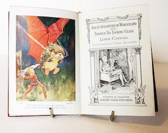 Alice In Wonderland & Through the looking glass, Lewis Carol Classic Childrens Book Vintage 1940s Vintage old Book Blue Hardback