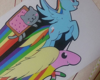 Sonic rainboom dashie pop tart cat and lady rainicorn fan art decal