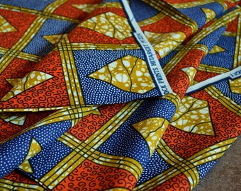 1/2 Yard Geometric Red Blue Cotton Fabric, African Fabric,Tribal Fabric, Bohemian Home Decor, African Print, Ethnic Textile, Wax Block Print