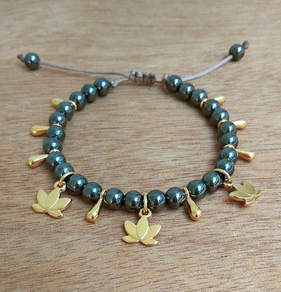 Lotus Bracelet • Gold Plated Lotus charm • Gunmetal • Golden Drops • Gold plated brass • Layered Bracelets • Handmade Charms Bracelet
