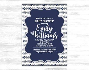 Woodland baby shower invitation for boys navy grey tribal baby shower invitation arrows baby shower invitation (SWW306)