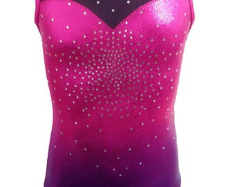 Straberry Flurry Ombre Gymnastics leotards for girls and youth