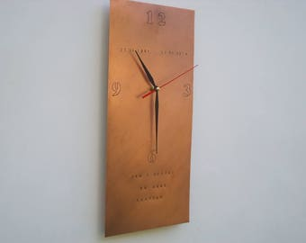 Wall clock (Personalized) in fine copper finely worked, keeps unchanged the color you see in photography over time