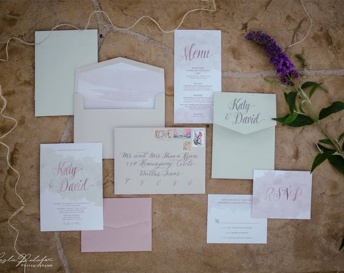 Modern Water Color Printed Pocket Wedding Invitation in Mint and Pink Blush with Envelope Liner & Coordinating Day-Of Pieces