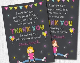 Roller Skating Thank You Card , Roller Skate Thank You Note, Roller Skating Birthday, Roller Skate Party, Chalkboard, printable