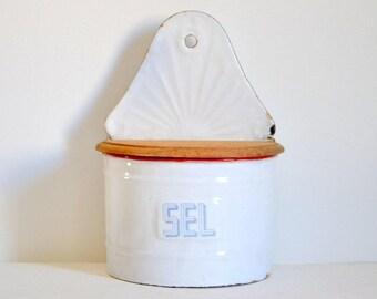 Beautiful enamelled white salt box French