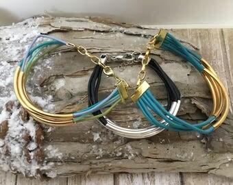 leather bracelet- black leather bracelet- turquoise leather bracelet-multi color leather bracelet- gold leather bracelet- silver leather