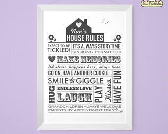 Nan's House Rules printable poster