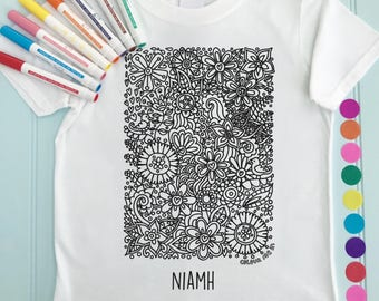 Personalised Girls Tee shirt to Colour in Flower Design Doodle Colouring in Art Fabric Pens T-Shirts Fun Activity for Kids