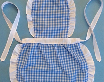 Kids Handmade Apron, Gingham Check, Little Girl Play Apron Clothes, Child Apron, Toddler Party Blue White Apron Checkered Birthday Gift