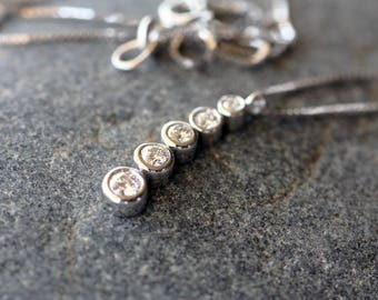 White Gold pendant K18/Diamond pendant/Woman's necklace/Handmade pendant K18/Woman's diamond pendant/Woman's gift/Diamond necklace