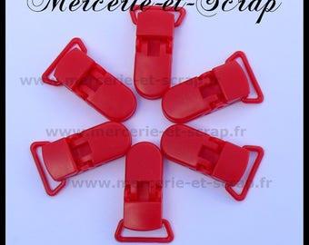 10 ties 22mm red plastic pacifier crocodile 017