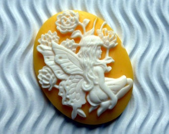 2 * 30 * 40mm woman Angel white yellow flower cabochon cameo