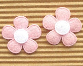 SET of 5 white pink flowers 25mm embellishment applique