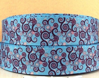 Ribbon flower 25mm grosgrain Ribbon sold by the meter violet blue arabesque