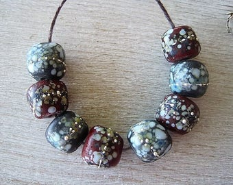 Lampwork Bead set of 8 Stone Rustic Gray Brown Speckled with Dots and Fine Silver Etched Finish