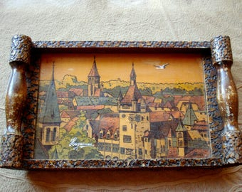 Antique Haguenau Wooden Tray/ Rustic Wooden Tray/Hand Carved Tray/Home Kitchen Tool/ Square Serving Tray/1950s