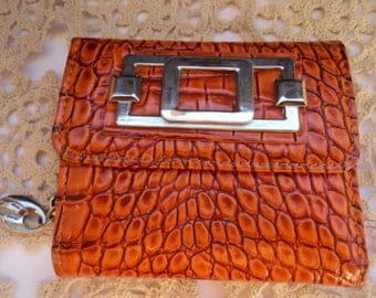 Vintage Women Ladies Leather Wallet Purse/ Zipper Women Leather Wallet/Coin Card/1980s