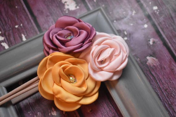 Gold, Dusky Pink and Peach flower cluster  hairband - Baby / Toddler / Girls / Kids Elastic Flower Crown / Headband / photo prop / Birthday