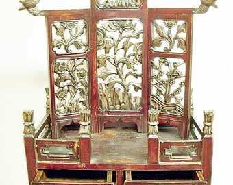 19th Century CHINESE PETIT ALTAR Carved Screen Cabinet
