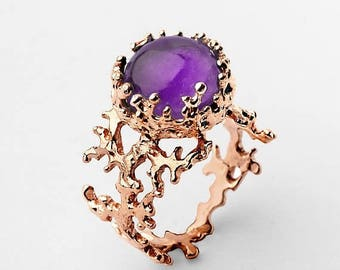 SALE 20% Off - CORAL Rose Gold Amethyst Ring, Natural Amethyst Ring, Rose Gold Ring Amethyst, Purple Amethyst Engagement Ring