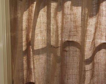 valence rideau toile de jute sac de grains rideau rideau. Black Bedroom Furniture Sets. Home Design Ideas
