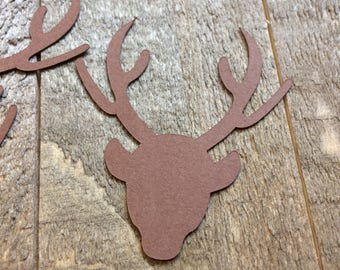 Brown Deer Head Antlers Table Confetti Wildlife Woodland Critter Forest Scatter Decor Centerpiece Decoration Scrapbook Embellishments C083