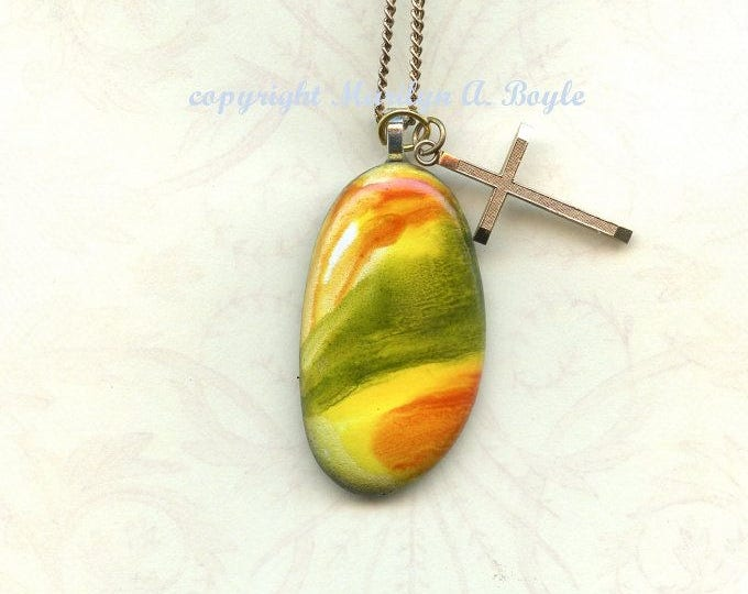 HAND PAINTED STONE; Pendant, jewelry, poured enamel paint, 22 inch gold metal chain, gold cross, wearable art,