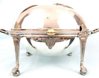 Stunning Antique Dome Top Tureen, Silver Plate, Heraldic Crest, Breakfast Tureen, Paw Feet, William Hutton, Nosce Te Ipsum, Quality Antique