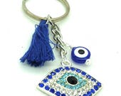 Evil Eye keychain with evil eye bead and blue tassel, good luck and protection relic, evil eye tassel keychain, talisman accessory, gift