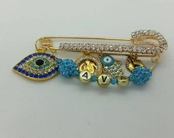 Allah charm pin, evil eye pin, Allah stroller pin, muslim baby gift, islamic baby gift, Allah hamsa pin, Allah baby pin, baby shower gift