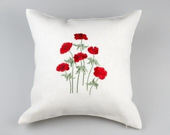 Linen pillowcase with Poppies embroidery, izšūtas magones,  made by SANPO