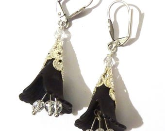 earrings with black opened flower with silver beads
