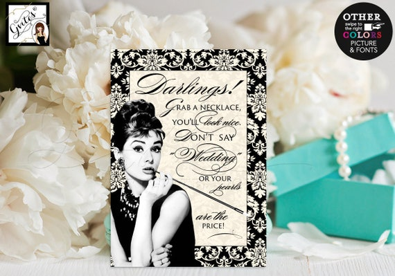 Bridal shower games Audrey Hepburn, breakfast at themed co bridal, CUSTOMIZABLE Audrey Picture/Colors & Fonts, 5x7