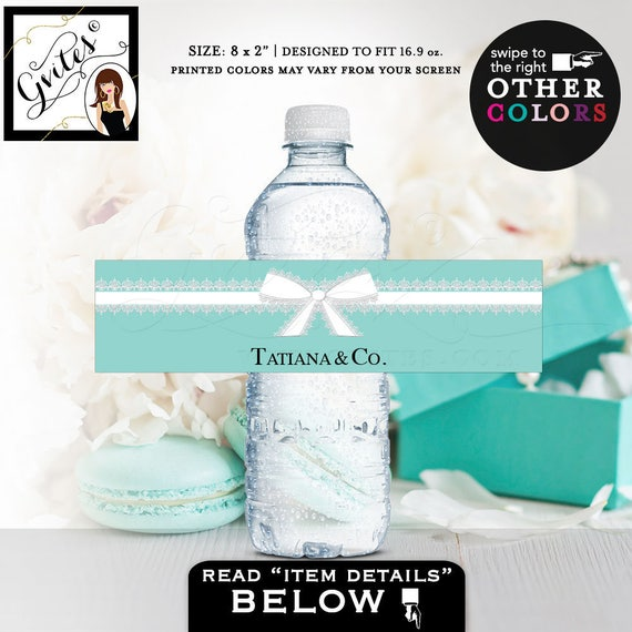 "Bride & Co blue water labels, bridal shower water bottle labels, breakfast at stickers, {8x2"" 5 Per Sheet} CUSTOMIZABLE TEXT"